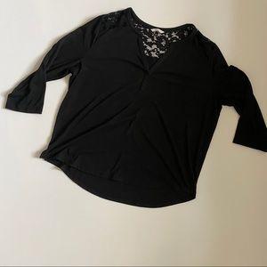 H&M black lace detail top